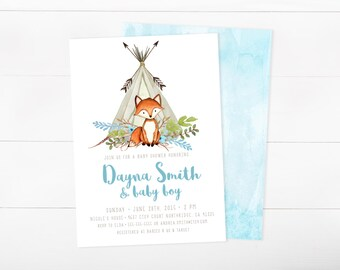 Baby Shower Invitation Boy, Woodland Baby Shower Invitation Fox, Teepee, Arrow, Watercolor Invitation (722)