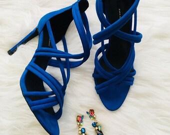 Blue Drop Statement Earrings
