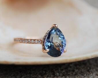 Tanzanite Ring. Rose Gold Engagement Ring 3.5ct Lavender Tanzanite pear cut engagement ring 14k rose gold ring by Eidelprecious.