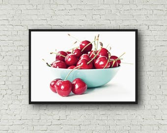 Cherry Print - Bowl of Cherries Photograph - Digital Download - Kitchen Printable - Cherries Kitchen Decor - Red and Aqua
