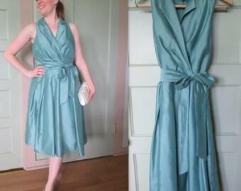 Vintage Dress, Silk, Green, Dress, Easter, Spring, Summer, Wedding, Bridesmaid, Mother of the Bride, Elegant, Seafoam, Party Dress