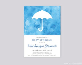 Blue Baby Shower Sprinkle Invitation, Umbrella watercolor invite, It's a Boy Sprinkle Party, Sprinkled with Love, Sprinkle Shower