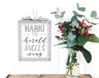 Hark! The Herald Angels Sing Christmas card - Hand drawn lettering Christmas Card - Hand drawn typography - Type by Alice