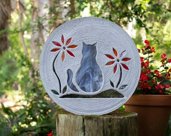 Gray Tabby Kitty Cat Stepping Stone