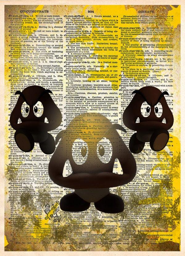Goomba pop art Super Mario brothers retro style wall art