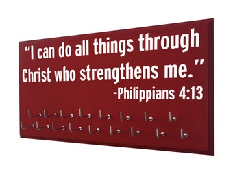 inspirational sports quote, Running Medal display , I can do all things through Christ who strengthens me. Philippians 4:13, running gift