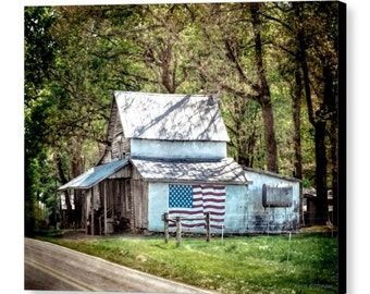 Rustic Country Decor Old Country Farm Building Architecture Rural Landscape Scenery USA Flag Fine Art Photography Giclee Gallery Wrap Canvas