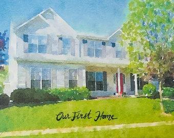 Custom Digital Print: Watercolor Home Prints