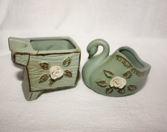 Vintage Green Pottery Mini Planters Swan and Wheelbarrow with Attached Rose