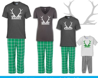 Personalized Christmas Reindeer Antler Pajamas, Family Christmas Pajamas, Infant Toddler Youth Christmas Pajamas, Holiday Pajamas, Hunting