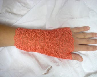 Orange coral, very comfortable lace fingerless gloves