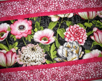 Spring Table Runner, Floral, Pink, Summer, handmade, quilted, fabric Wilmington Prints