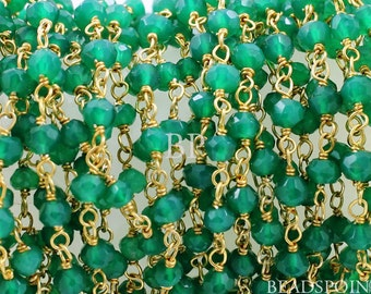 African Green Onyx Wirewrapped Gemstone Rosary Chain, 4x3mm Faceted Rondelles, 24k Vermeil Sterling Silver Gold Plated, GMC-GRX (4)