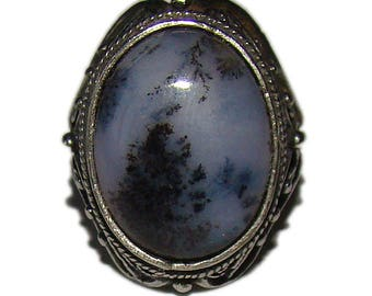 SALE! Russian Moss agate ring from Ural Mountains - 7