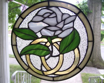 Stained Glass Bridal  Rose Sun-catcher
