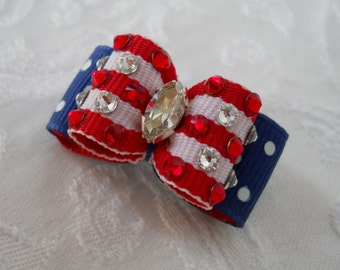 """DOG BOW-  5/8"""" Blinged out 4th of July Dog Bow"""