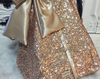 Rose Gold / CAR SEAT COVER / car seat canopy / nursing cover / carseat cover / carseat canopy / ooak / sequin / infant car seat cover / gold