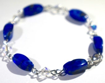 Blue Glass and Clear Crystal Bracelet