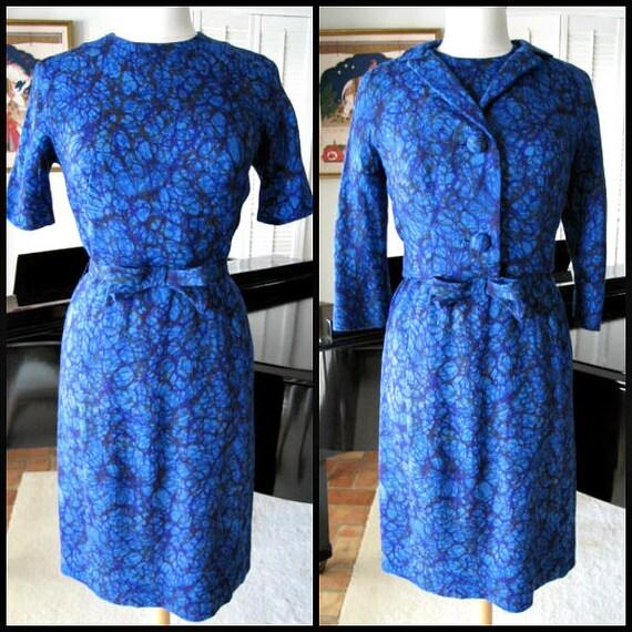 ALPER SCHWARTZ Kleid Anzug / passt M / 60er Jahre blau Kleid