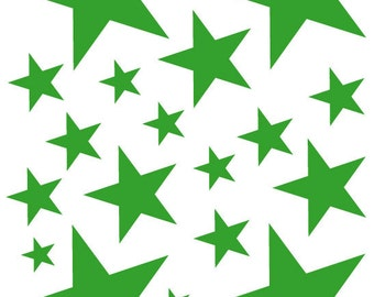 52 Lime Green Vinyl Star Shaped Bedroom Wall Decals Stickers Teen Kids Baby Nursery Dorm Room Removable Custom Made Easy to Install