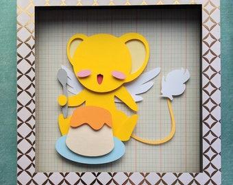 """CardCaptor Sakura with Clow Wand Layered Paper Cut Art Piece 8""""x8"""" Shadowbox Frame"""