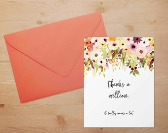 fall flowers thanks a million card thank you card shower wedding just because