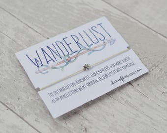 Wanderlust Wish Bracelet, Make A Wish Bracelet, Travelling Gift, Travellers Gift, Boho Bracelet, Gap Year, Moving Gift