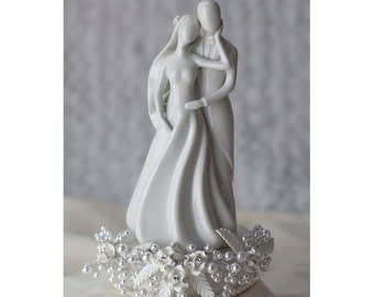 Rose and Pearls Silhouette of Love Wedding Cake Topper - 101158