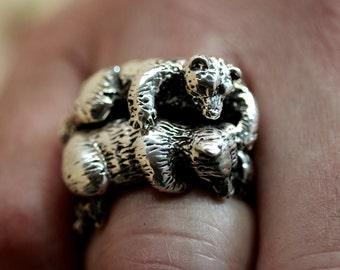 Cuddling Bear Rings  sterling silver Blue Bayer Design NYC