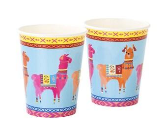 Llama Party Cups | Boho Llama Birthday Party Fiesta Party Alpaca Tableware Fiesta Birthday Bridal Fiesta Cactus Party Llama Baby Shower Cup