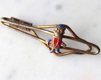 Vintage Calvert Whiskey Figurative Bar clip tie bar Blended Whiskey souvenir-memorabilia  goldtone enameled metal 1940's very good condition