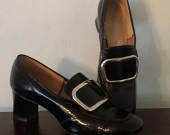 Vintage 60s 70s pumps shoes pilgrim buckle