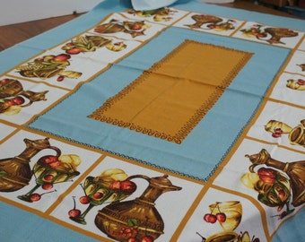 "Vintage Blue and Brown Tablecloth 38"" x 51"""