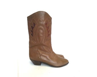 80s TALL boots BOHO boots WESTERN boots slouchy boots bohemian boots hippie boots gipsy boots coachella outfit / size 6.5 us 4 uk 37 eu