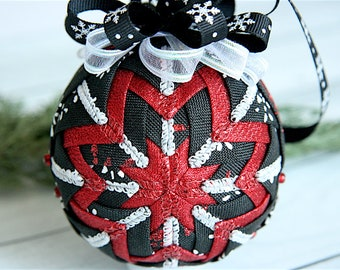 Quilted Christmas Ornament Ball-Ribbon Ornament-Snowflakes-Black-Red-Winter Awaits