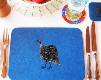 Placemats, Set of 4, hand decorated with Guinea Fowl, hand tied with a blue ribbon