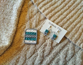Crochet Weave Necklace and Drop Earring Set