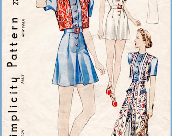 1930s 30s repro vintage sewing pattern playsuit beach romper sun skirt bolero vest bust 34 b34