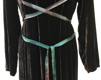 Vintage 1970s Bohemian Velvet Dress w/ Silk Tie Dye Ribbon Wrap