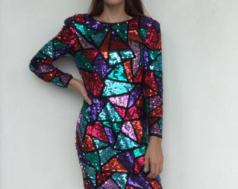 Amazing 1980's geometric mosaic abstract sequin colorful 100% silk Kathryn Conover by night evening party dress