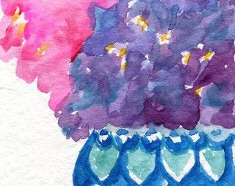 ACEO Hydrangeas original watercolor painting, Flower artwork in Blue and White Vase, Floral Art Card, hydrangea art, SharonFosterArt