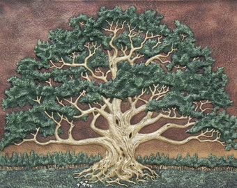 The Wisdom Tree- Cast Paper - Large - Tree - Green - Spreading Oak - Landscape - Arbor - Big Tree - Great Oak
