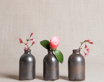 READY TO SHIP : Black Minimalist Bud Vases // Set of Three
