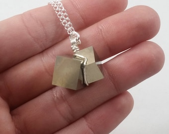 Pyrite Perfect Double Cube Cluster Wire Wrapped Sterling Silver Necklace
