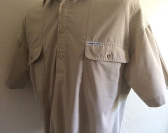 Vintage Men's 80's Shirt, Members Only, Tan, Pull Over, Short Sleeve (L/XL)