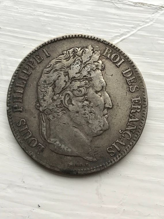1835 W Louis Philippe I French Silver 5 Francs Coin (VF) Lille