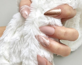 First Love | Pink Marble Nude Rose Gold Matte Press On Nails | Any Shape | Fake Nails | False Nails | Glue On Nails