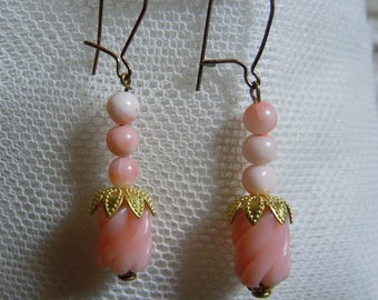 Carved Angelskin Coral Earrings