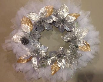 Handcrafted Mesh Christmas Wreath