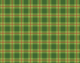 Cozy Cabin Christmas Plaid in Green 28.5 INCHES End Of Bolt Fabric By Red Rooster
